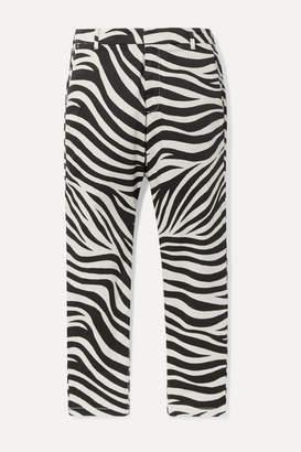 Nili Lotan Paris Cropped Zebra-print Cotton-blend Poplin Pants - Black