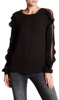 Romeo & Juliet Couture Pleated Trim Mesh Long Sleeve Blouse