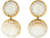 Jose & Maria Barrera Carved Mother of Pearl Clip On Earrings