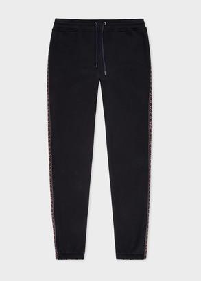 Paul Smith Men's Black Organic Cotton Sweatpants With Side Stripe