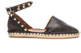Valentino Rockstud Double Flat Leather Espadrilles in Black.