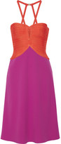 Herve Leger Cutout Two-tone Bandage-paneled Crepe Dress - Orange