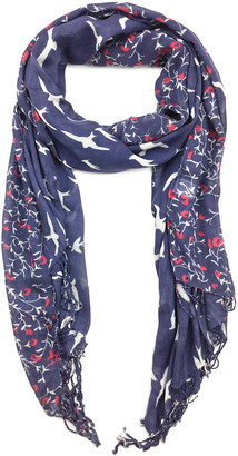 East Cloud Women's Accent Scarves NavyRed - Navy & Red Cherry Blossom Bird Scarf