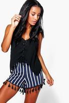 Boohoo Vera Vertical Stripe Tassel Shorts