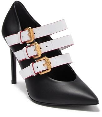 Moschino Triple Buckle Strap Pointed Toe Stiletto