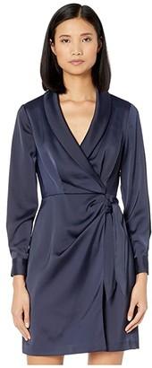 Vince Camuto Crepe Back Satin Long Sleeve Wrap Dress (Navy) Women's Dress
