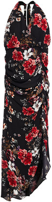Nicholas Asymmetric Ruched Leopard-print Silk-crepe Dress
