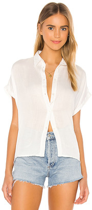 Indah Eliza Solid Button Down Short Sleeve Shirt