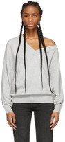 Alexander Wang Grey Wool Asymmetrical V-Neck Sweater