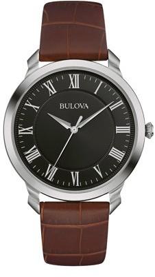 Bulova Men's Classic Brown Leather Quartz Watch 96A184