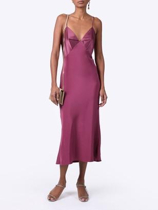 Silk Paneled Midi Dress Rose Mauve