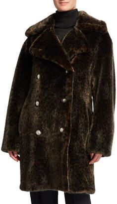 /Faz/ Not Fur Leopard Faux Fur Cold Solider Coat