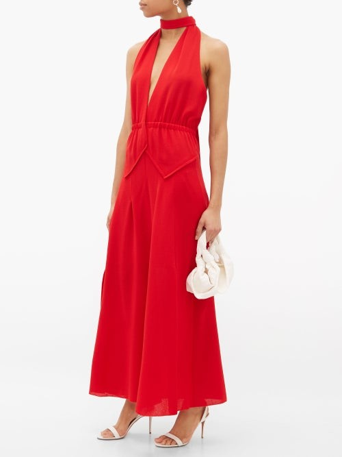Thumbnail for your product : Roland Mouret Katana Halterneck Wool-crepe Dress - Red