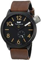 Vestal 'Canteen Italia' Quartz Stainless Steel and Leather Dress Watch, Color:Brown (Model: CNT3LSW)