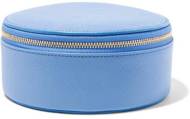 Smythson Panama Textured-leather Jewelry Case - Light blue