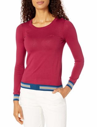 Lacoste Womens Long Sleeve Crew Neck Semi Fancy Cotton Silk Jersey Sweater Sweater