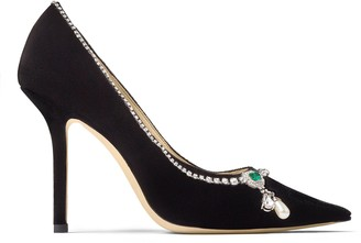 Jimmy Choo LOVE 100 Black Velvet Point-Toe Pumps with Crystal Mix Necklace Detail