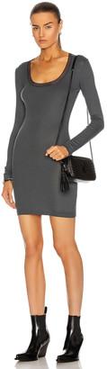 John Elliott Slinky Long Sleeve Scoop Neck Mini Dress in Steel   FWRD