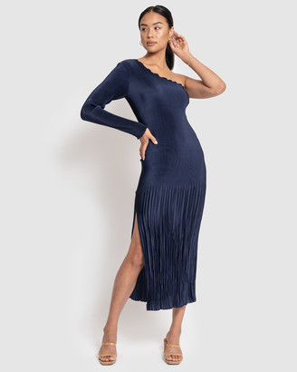 L'IDEE - Women's Navy Midi Dresses - Soiree Pleated One Shoulder Long Sleeve Dress - Size One Size, 6 at The Iconic