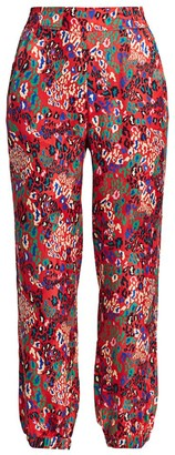 Tanya Taylor Jacob Mixed Animal-Print Silk Pants