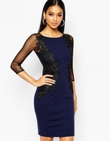Lipsy Lace Applique Body-Conscious Dress With Sheer Sleeve