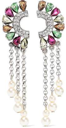 Ben-Amun Ben Amun Silver-tone, Crystal And Faux Pearl Clip Earrings