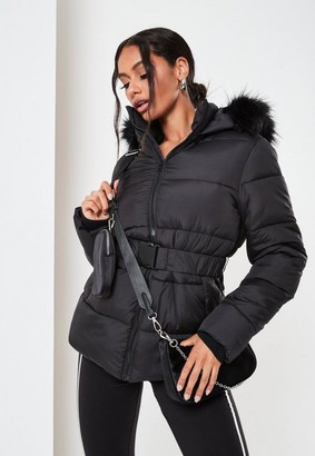Missguided Black Faux Fur Hood Belted Puffer Coat