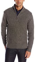 Haggar Men's Long Sleeve 1/4 Zip Mock Neck Cable Knit Sweater