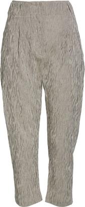 Zero Maria Cornejo Stripe Pleated Cotton Crop Pants