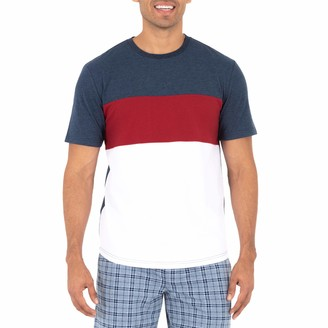 Chaps Men's Poly Suede Colorblock Short Sleeve Top