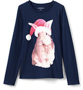 Lands' End Little Girls Novelty Roll-Neck Graphic Tee-Rabbit Santa