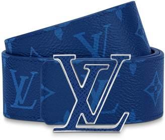 Louis Vuitton Initiales Reversible Belt Monogram Cobalt Taiga 40MM Blue
