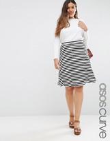 Asos Midi Skater Skirt with Poppers in Stripe