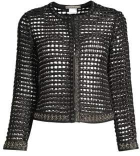 Alice + Olivia Women's Kidman Studded Leather Cropped Jacket - Black Silver - Size Small