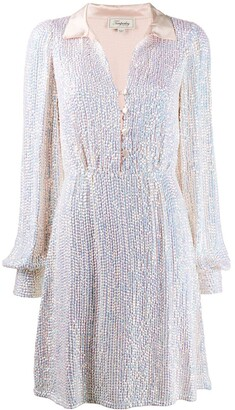 Temperley London sequined open-collar coktail dress