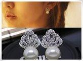 Flowers Earrings - Diamond crown hanging Pearl Earrings