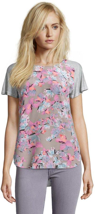 Rebecca Taylor Grey Tropical Flower Silk Blend Short Sleeve Tee Blouse