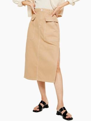 Topshop Pocket Midi Skirt - Sand