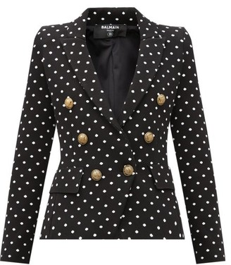 Balmain Double-breasted Polka-dot Canvas Blazer - Black White