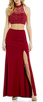 Sequin Hearts Mock Neck Lace Top Two-Piece Long Dress