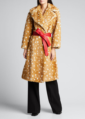 Marc Jacobs The Faux Fur Fawn-Print Coat