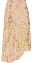 Marques Almeida Marques' Almeida - Asymmetric Cutout Corded Lace Midi Skirt - Chartreuse