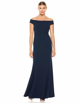 Jenny Yoo Women's Larson Off The Shoulder Fit and Flare Crep Long Gown