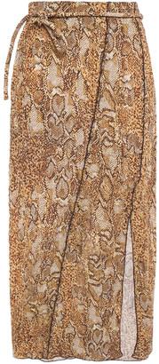 Nanushka Indira Snake-print Crinkled-voile Midi Skirt