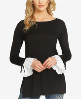 CeCe Cotton Pleated-Cuff Sweater
