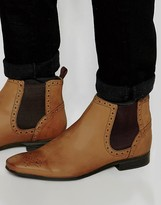 Asos Brogue Chelsea Boots In Tan Leather
