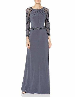 Marina Women's Long Jersey Gown with Shiring at Neck Beaded Mesh Sleeves