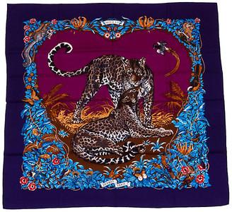 One Kings Lane Vintage Hermes Blue Jungle Love Cashmere Shawl - Vintage Lux