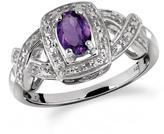 1/2 CT TW Oval-Shaped Amethyst Silver Halo Ring with Diamond Accents by JewelonFire