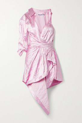 Alexander Wang - Asymmetric Layered Gathered Crinkled-satin Dress - Baby pink